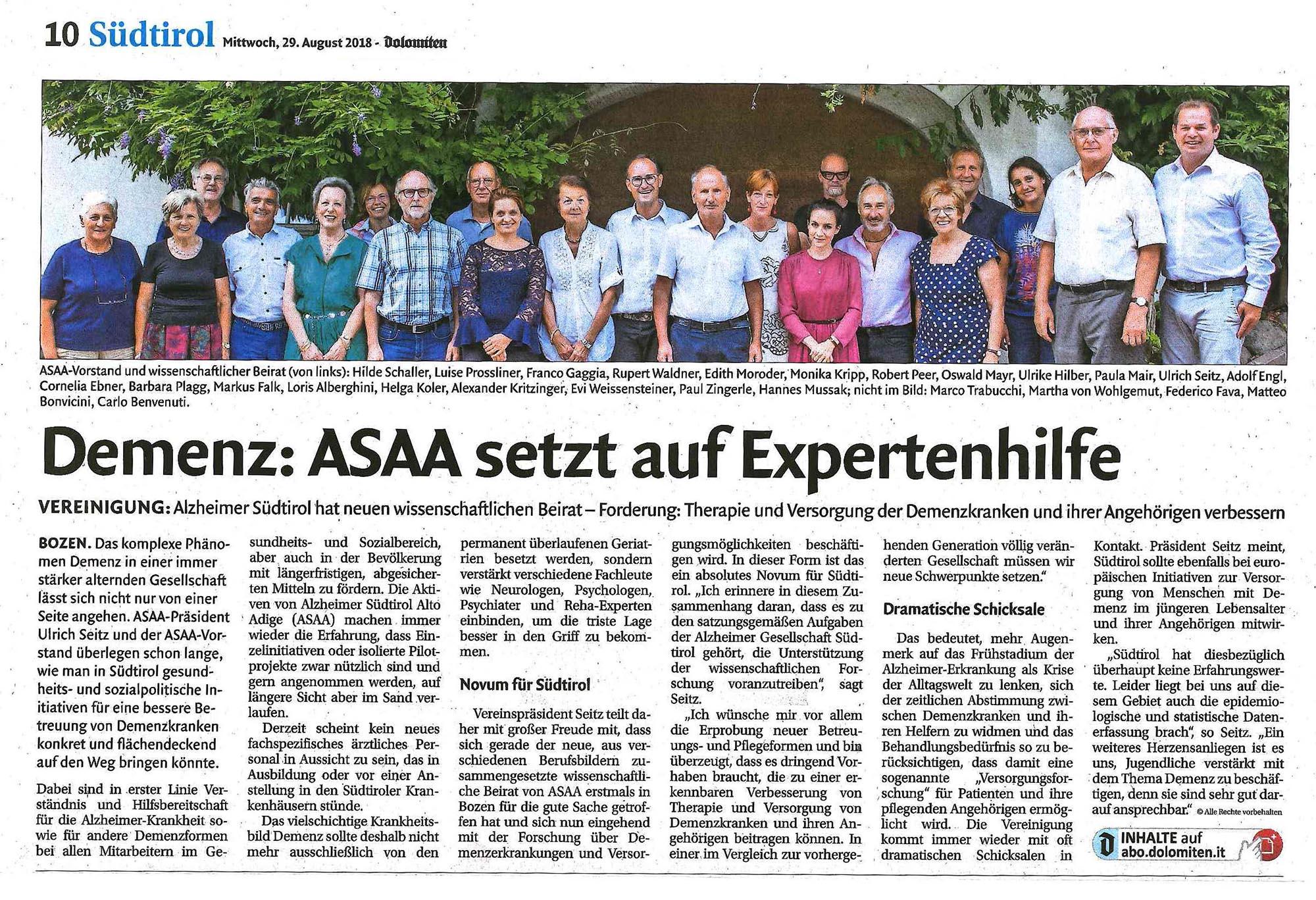 Artikel Dolomiten 29. August 2018